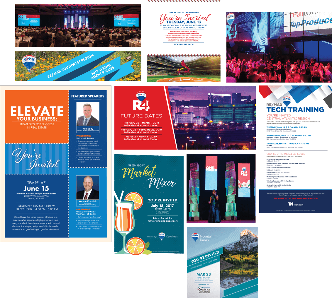 A collage of various handouts from the annual R4 conference